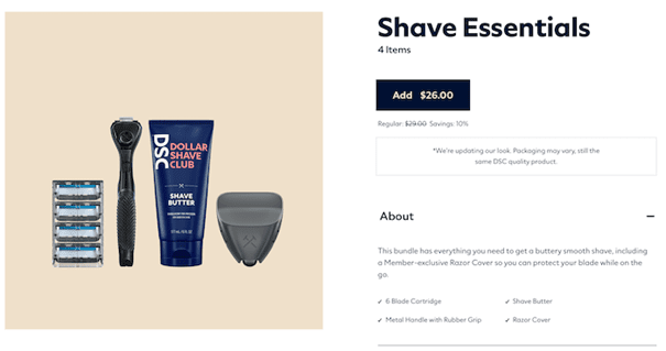 Voorbeeld Dollar Shave Club.