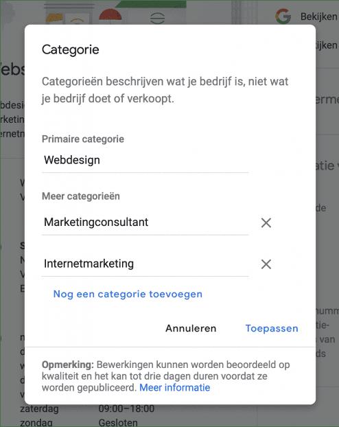 Categorieën Google Mijn Bedrijf