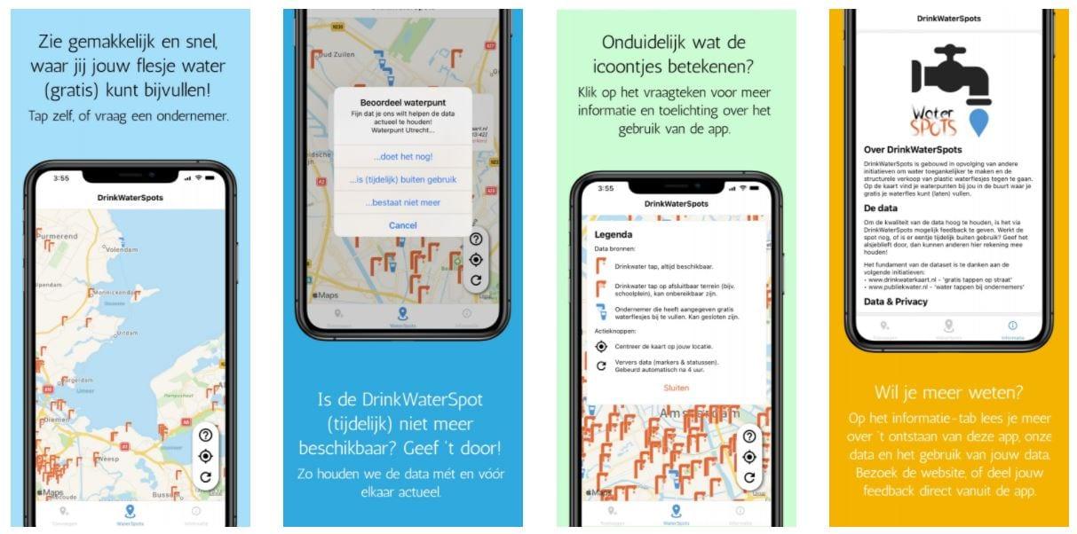 Screenshot van de app DrinkWaterSpots.
