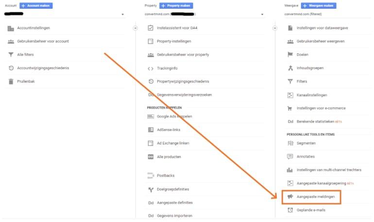 Google Analytics Custom Alerts instellen