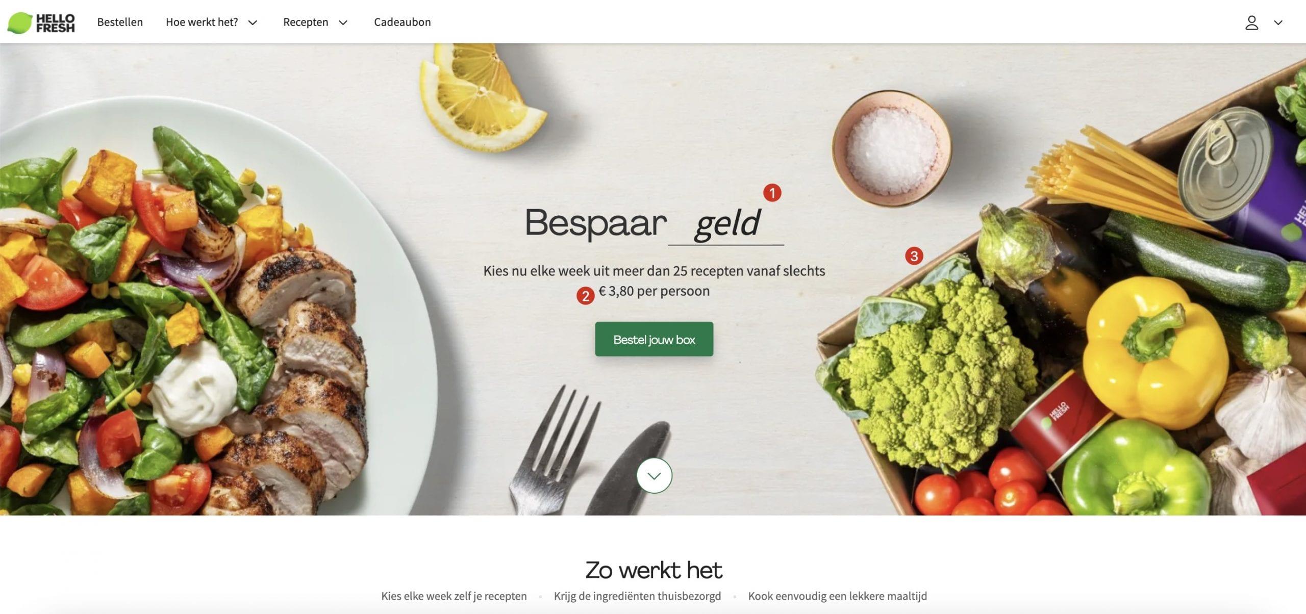 Screenshot van de website van HelloFresh.