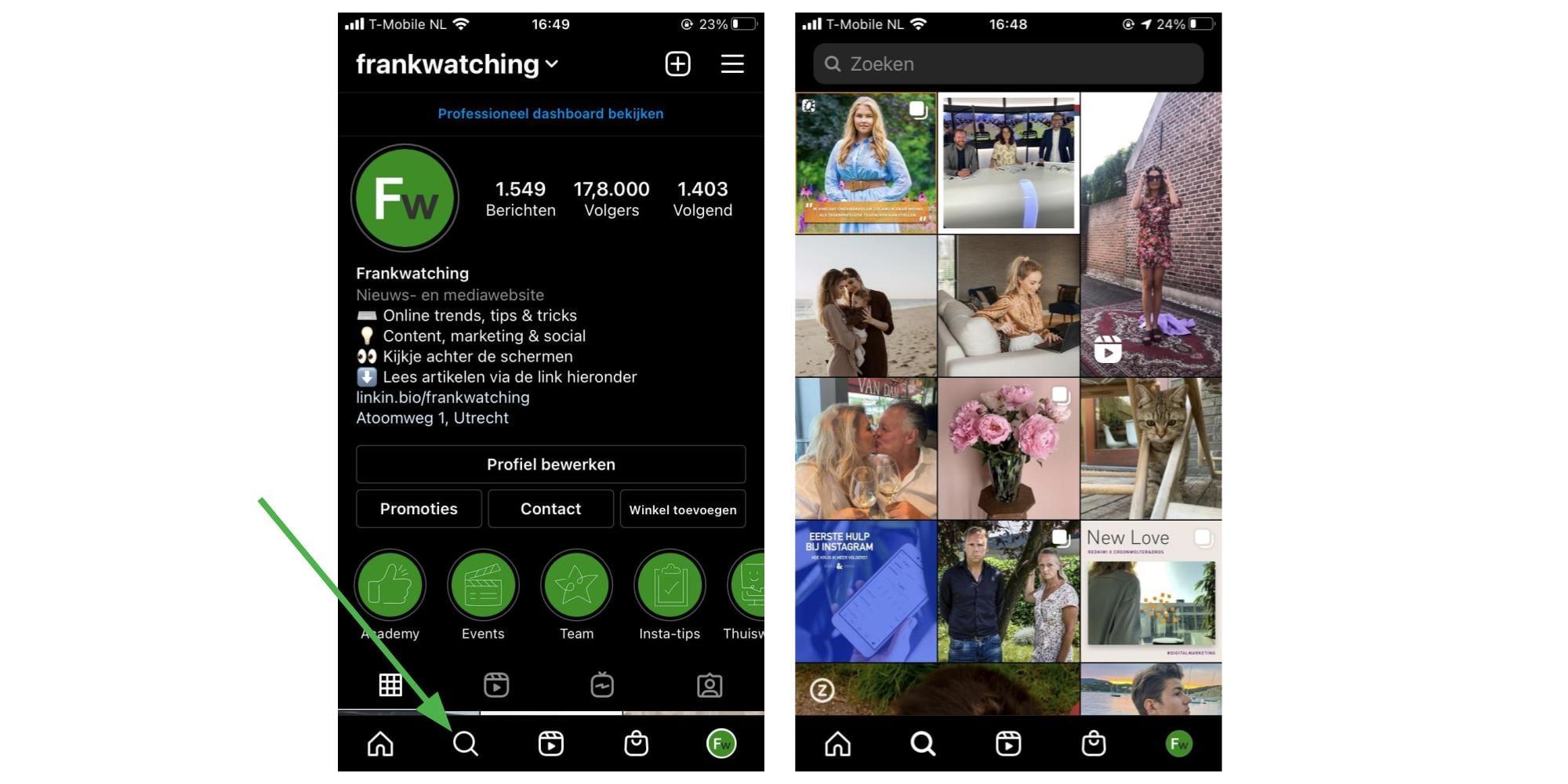Screenshots van Instagram Explore.