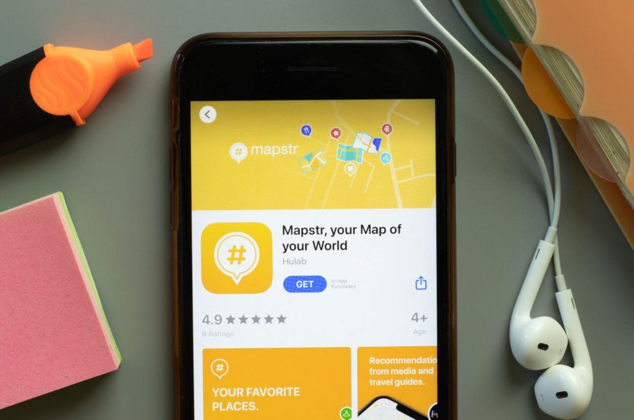 Screnshot van de app Mapstr.