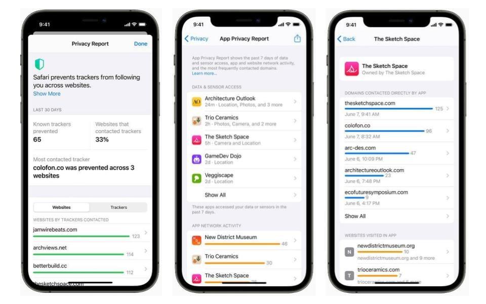 Screenshots van App Privacy Report iOS 15-update.