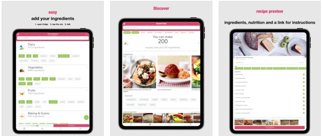 Screenshot van de app SuperCook.