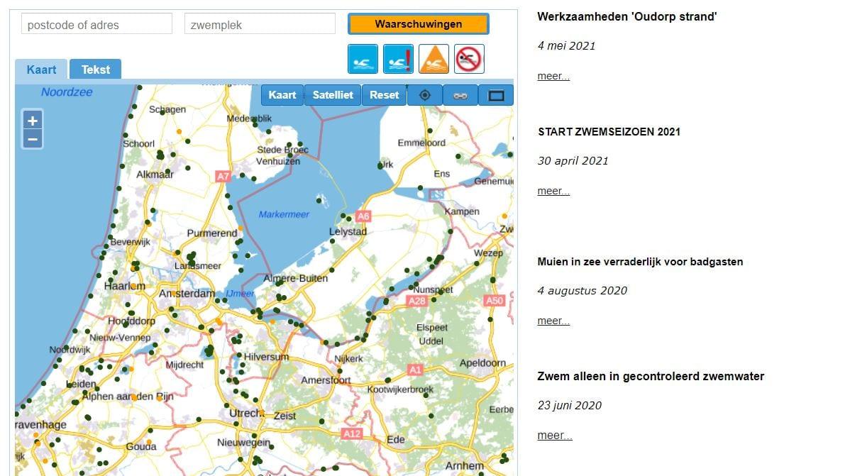 Screenshot van de website Zwemwater.