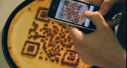 Pizza met QR-code