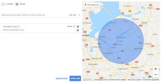 Screenshot van een lokale SEO-campagne in Google.