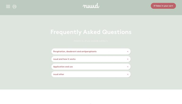 Voorbeeld design FAQ-pagina van Nuud Care