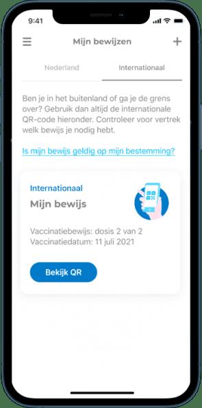 Voorbeeld CoronaCheck-app.