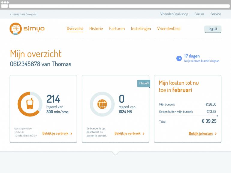 Voorbeeld mijn-omgeving bij Simyo als onderdeel van klantenservice