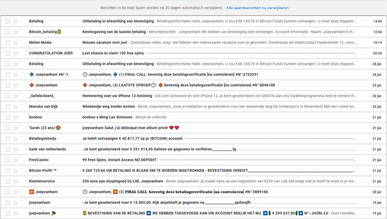 lijst met spam mailtjes