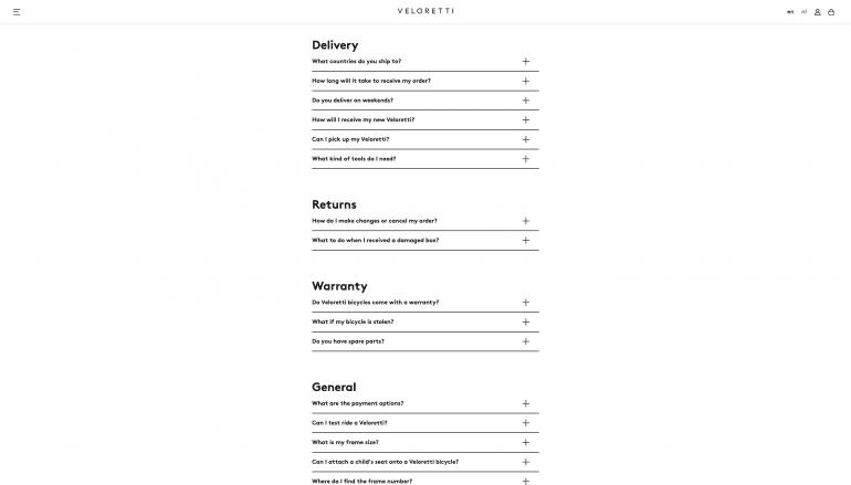 Voorbeeld FAQ-pagina Veloretti als onderdeel van klantenservice