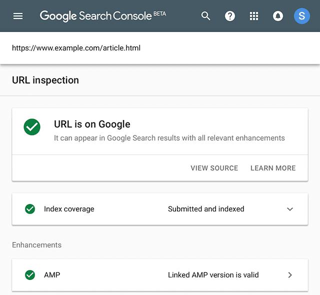 Screenshot van URL inspectie in Google Search Console.