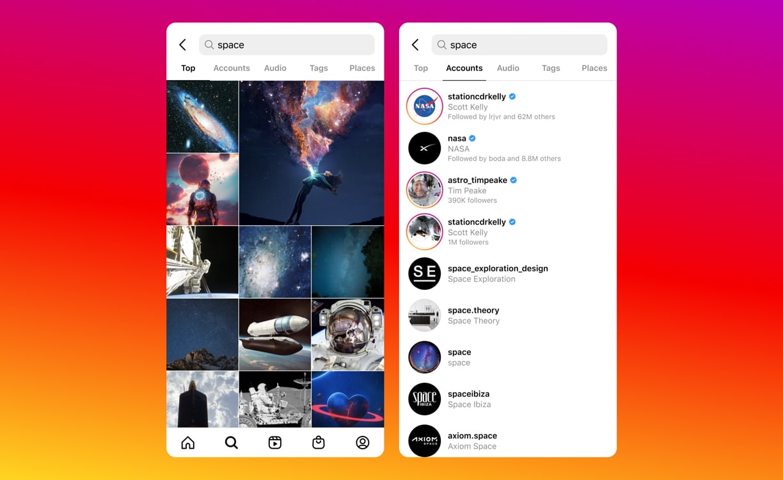Screenshot Instagram Search.