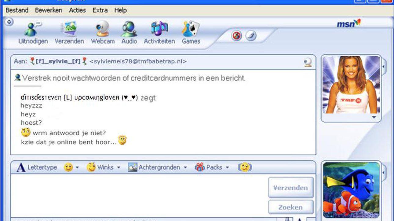 Screenshot van een MSN-scherm.