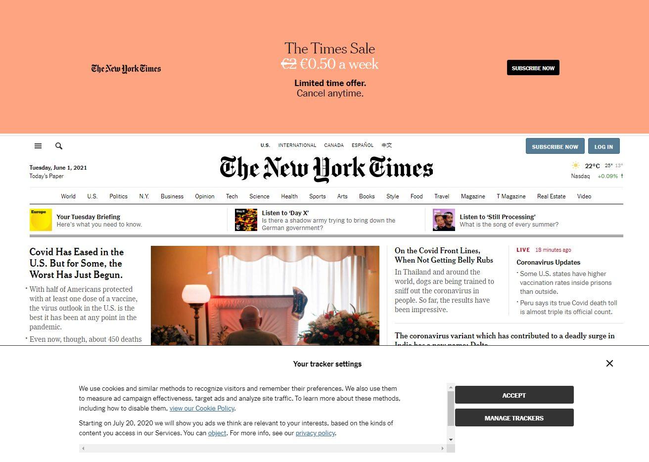 Screenshot The New York Times met cookiebanner.