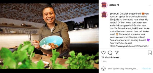 Voorbeeld waarin Go-Tan op hun Instagram doorverwijst naar hun YouTube-kanaal