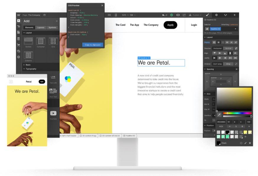 Webflow, een van de design-tools.
