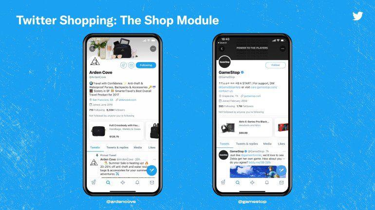 Twitter Shopping module voorbeeld.