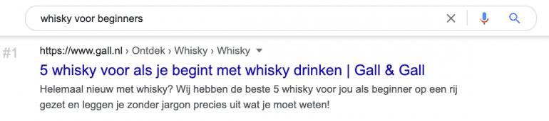 """Google SERP zoekresultaat voor de zoekopdracht """"whisky voor beginners""""."""