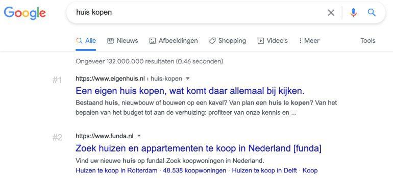 """Google SERP voor de zoekopdracht """"huis kopen""""."""