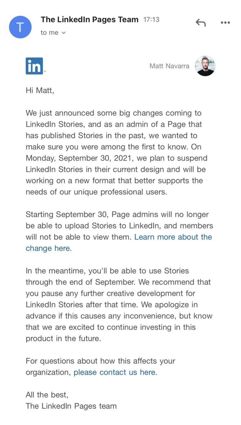 Mail over dat LinkedIn Stories stopt.