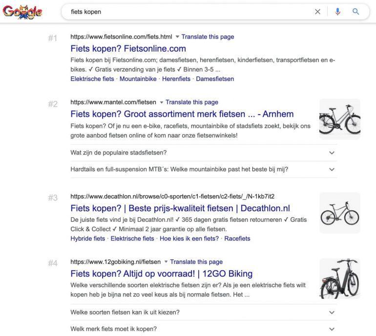 """Google SERP voor de zoekopdracht """"fiets kopen""""."""