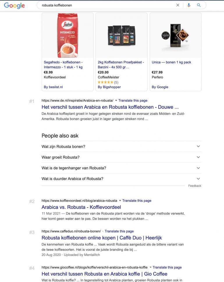 """Google SERP voor de zoekopdracht """"robusta koffiebonen""""."""