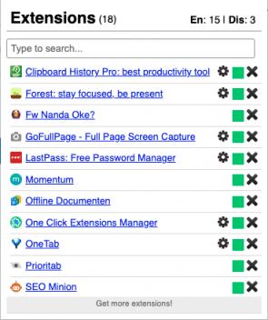 Schermafbeelding van 1-Click Extension Manager