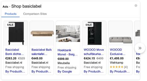 Google Shopping voorbeeld Basiclabel.