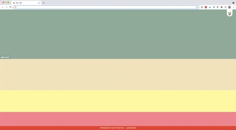 Tabblad met Color Hunt extensie