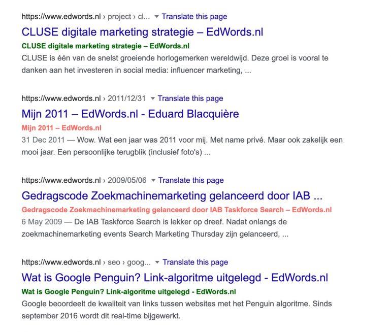 Uitkomst bookmarklet met welke page titles herschreven zijn door Google
