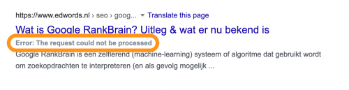 Error-melding in bookmarklet: 'The request could not be processed'