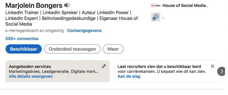 Services LinkedIn profiel