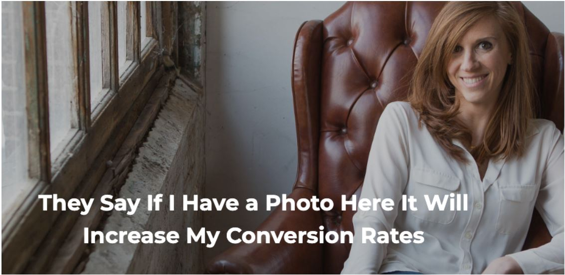Foto van Margo Aaron met de tekst 'They say if I have a photo here it will increase my conversion rates'