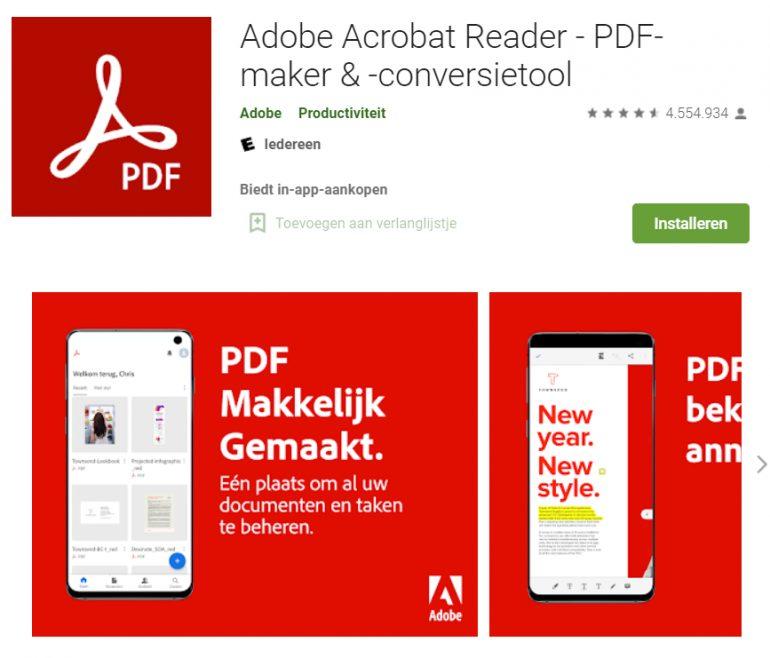 Screenshot van de app van Adobe.