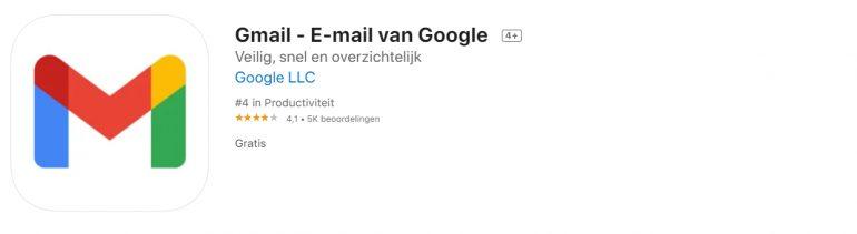 Screenshot van de app van Gmail.