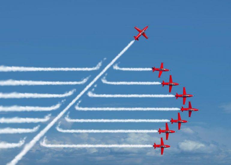 vliegtuigen die staan voor verandering