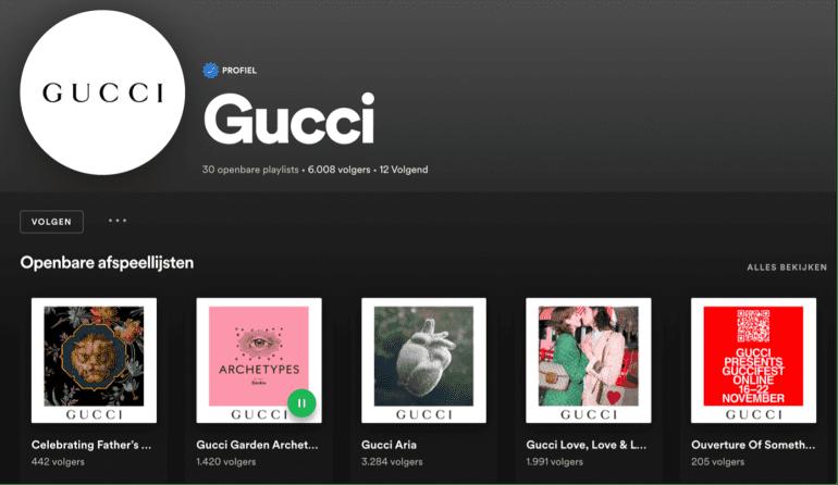 Spotify-playlist van Gucci.