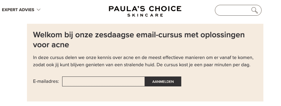 E-mailcursus van Paula's Choice.