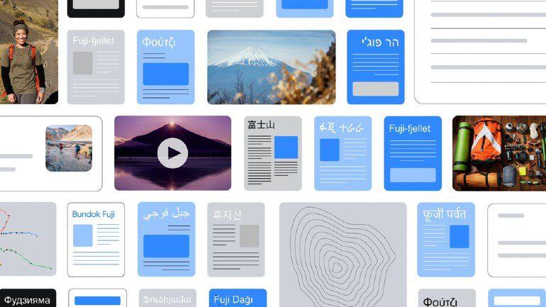 Google MUM biedt content aan uit verschillende talen en vormen.