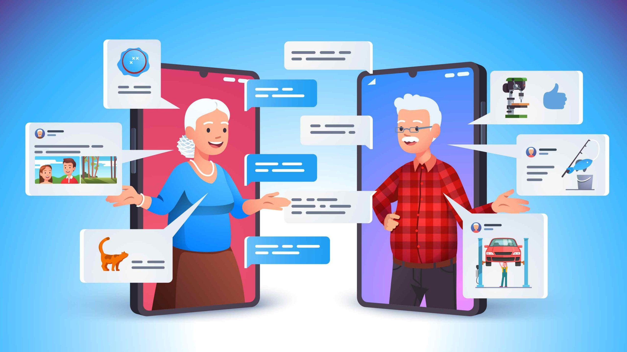 Tekening van ouderen in een telefoon die druk zijn op social media.