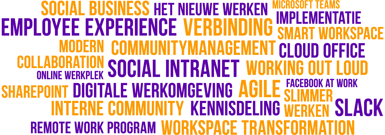 Tagcloud doelgroep van het Digital Workspace Event
